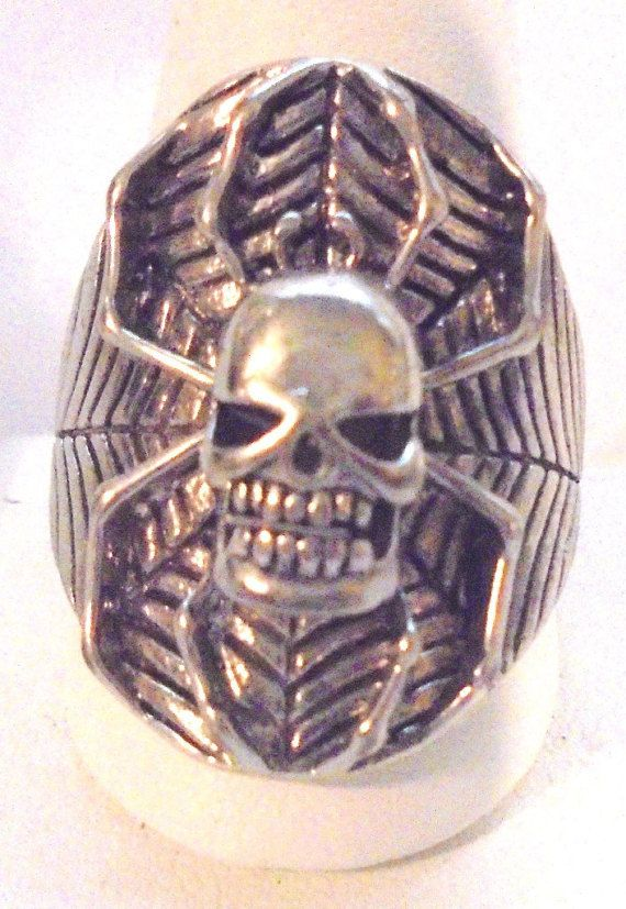 Creepy Large spider skull biker ring a size 13. Nice condition. Great gift for the biker in your life. The top is 1 1/4 inches  Thank you for opening the door to my world o... #vtpassion #teamlove #vrev #bitzofglitz4u #vogueteam