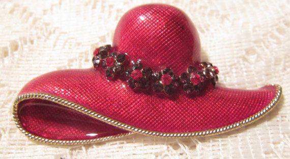 Vintage Lady Red Hat Brooch Pendant by ViksVintageJewelry on Etsy