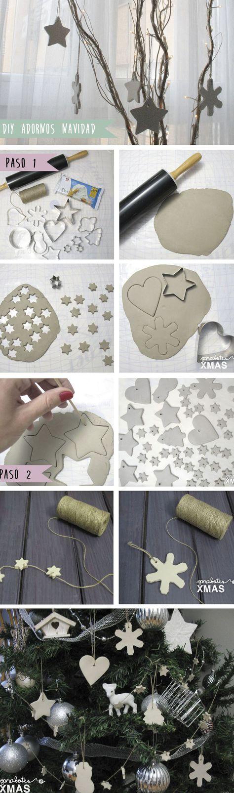 DIY Adornos con pasta de modelar. Christmas handmade clay ornaments