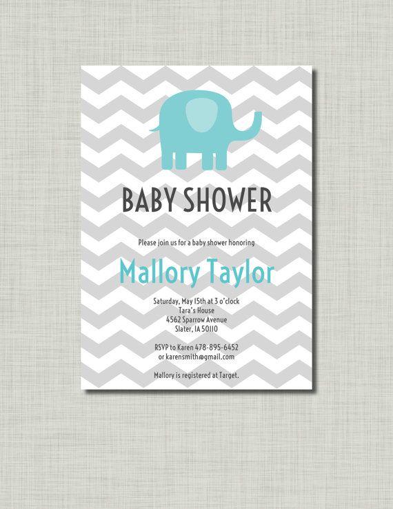 Aqua Elephant Baby Shower Invitation Grey by BusyChickadees, $12.00