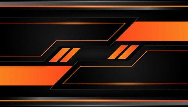 Modern 3d Geometry Shapes Black Lines With Orange Borders On Dark Background Geometry Shape Dark Backgrounds Game Logo Design Cool orange and black backgrounds