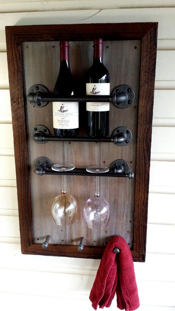Wijn Rack teruggewonnen hout schuur hout door HammerHeadCreations