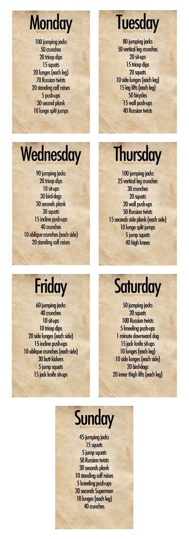 Week workout plan