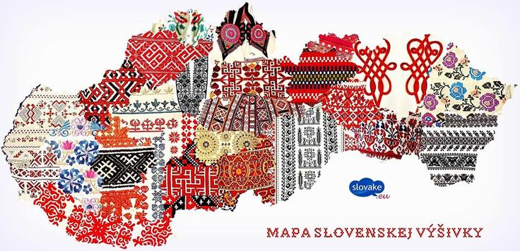A picture of typical embroideries in Slovakia based on where in Slovakia were they used.