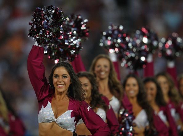 The Manly Sea Birds cheergirls perform during the round two NRL match between the Manly Sea Eagles and the Wests Tigers at Bluetongue Stadiu...