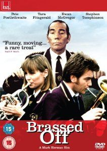 """The coal mine in the Yorkshire town of Grimley may be closing, which would also mean the end of the miners' brass band. Danny, the director (Pete Postlethwaite) is unfazed by the threat, claiming, """"It's music that matters."""" But some of the men are about to quit the band until the appearance of Gloria (Tara Fitzgerald at her most radiant), who dazzles the all-male group (including old flame Andy, played by Ewan McGregor) first with her beauty, then with her flügelhorn playing."""