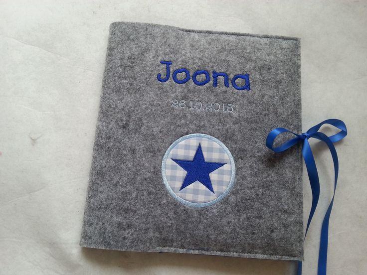 Babytagebuch Stern Applikation – blau