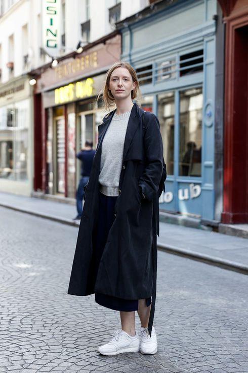 Street Style of Paris: Coat MONKI/ Knitwear GAP/ Bag COS/ Shoes ASICS   More photo at Fashionsnap.com