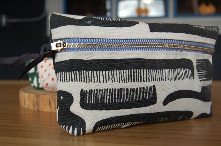 Screen printed zipper pouches! Illustrated, printed and stitched in our shop.