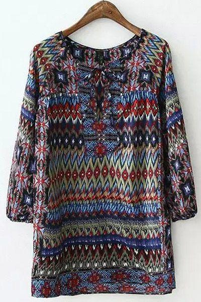 Colorful Argyle Printed Long Sleeve Shirt