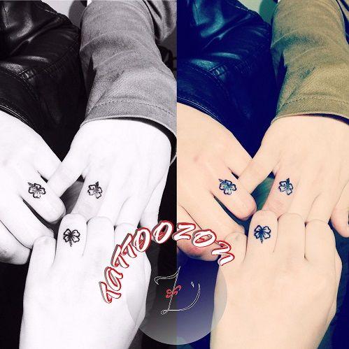 tattoozon - trabzon dövme  dövmeci - finger four leaf clover tattoo - parmak dört yaprak yonca dövmesi