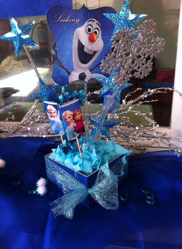 centro de mesa frozen frozen party pinterest mesas