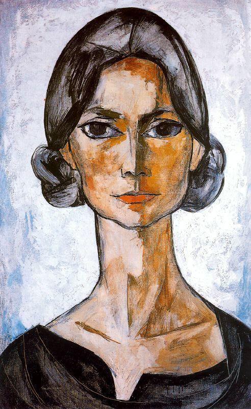"""Oswaldo Guayasamín (1919-1999). Ecuadorian master painter and sculptor of Quechua and Criollo heritage. """"Retrato Sra. de Cox"""". Oil on Canvas. 120x75cm. Colección Pablo Guayasamín."""
