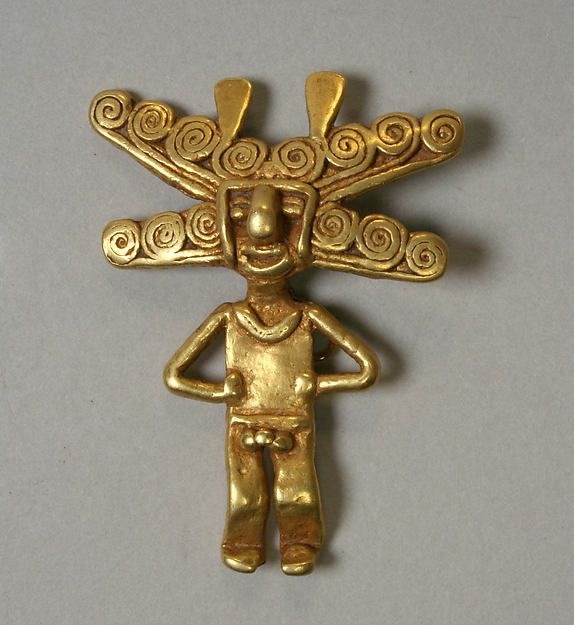 Gold Figure Pendant; 5th-10th c; Colombia Culture: Quimbaya or Sinu (?) Medium: Gold