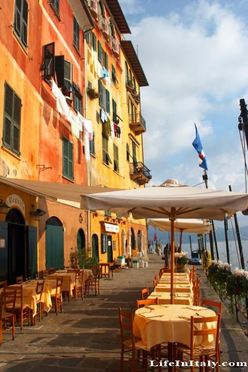 Cafe in Portofino Italy - I ate right there and ordered one of the signature pesto genovese dishes