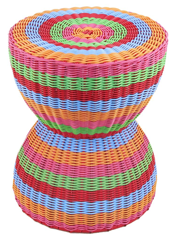 NEW IN: Handwoven RAINBOW hourglass rattan stool - waterproof! From $100RRP AUD.  http://www.philbee.com.au/decor/outdoor-indoor-waterproof-hand-woven-rattan-stool-939.html