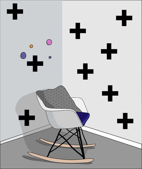 PLUS 23 pieces Scandinavian pattern wall decal by LoonyBinWorkshop