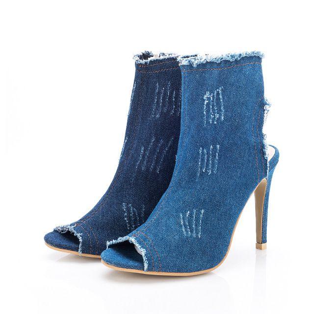 2017 azul de mezclilla botas de verano para las mujeres zapatos de tacón alto gladiador sandalias de las mujeres sandalias de punta abierta altos zapatos superiores vaqueros borla y234
