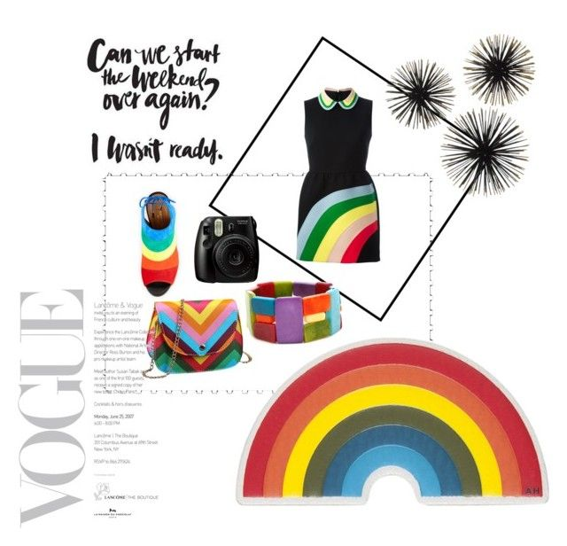 """""""Rainbowies"""" by ipeksell on Polyvore featuring RED Valentino, Aquazzura, Encanto and Anya Hindmarch"""