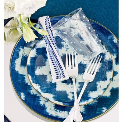 Ikat print dinnerware by Viva Terra