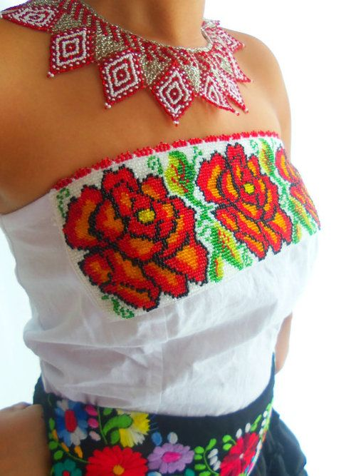 Las Rosas de Frida Mexican Handmade Embroidered Chaquira beaded boho corset