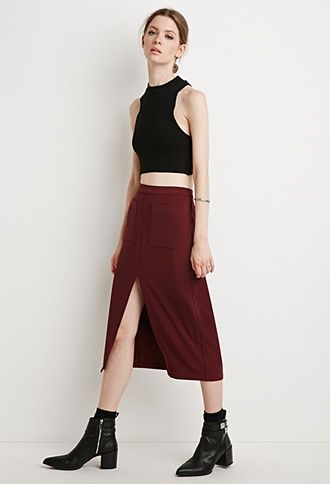 online shop clothing Front Slit Pencil Skirt   Forever 21   2000155318