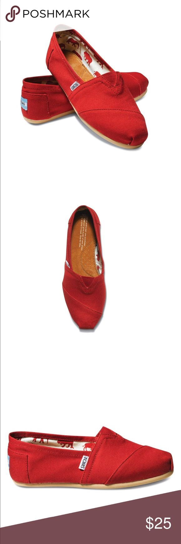 TOMS Classic Red Canvas 001001B07 Womens Brand new never worn - size 7.5 ..every time you order from my store you are helping the pups in my local shelters in Queens 😍 TOMS Shoes Flats & Loafers