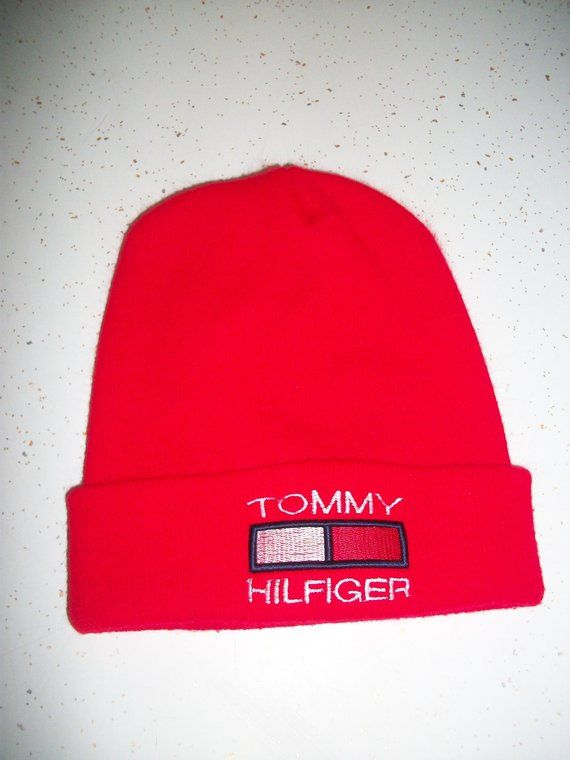 90s Tommy Hilfiger Knit Beanie Skull Cap Hat Touque Red Embroidered Winter  Hat 1990s Retro Hip Hop Unisex Mens Womens One Size f703d574bb2