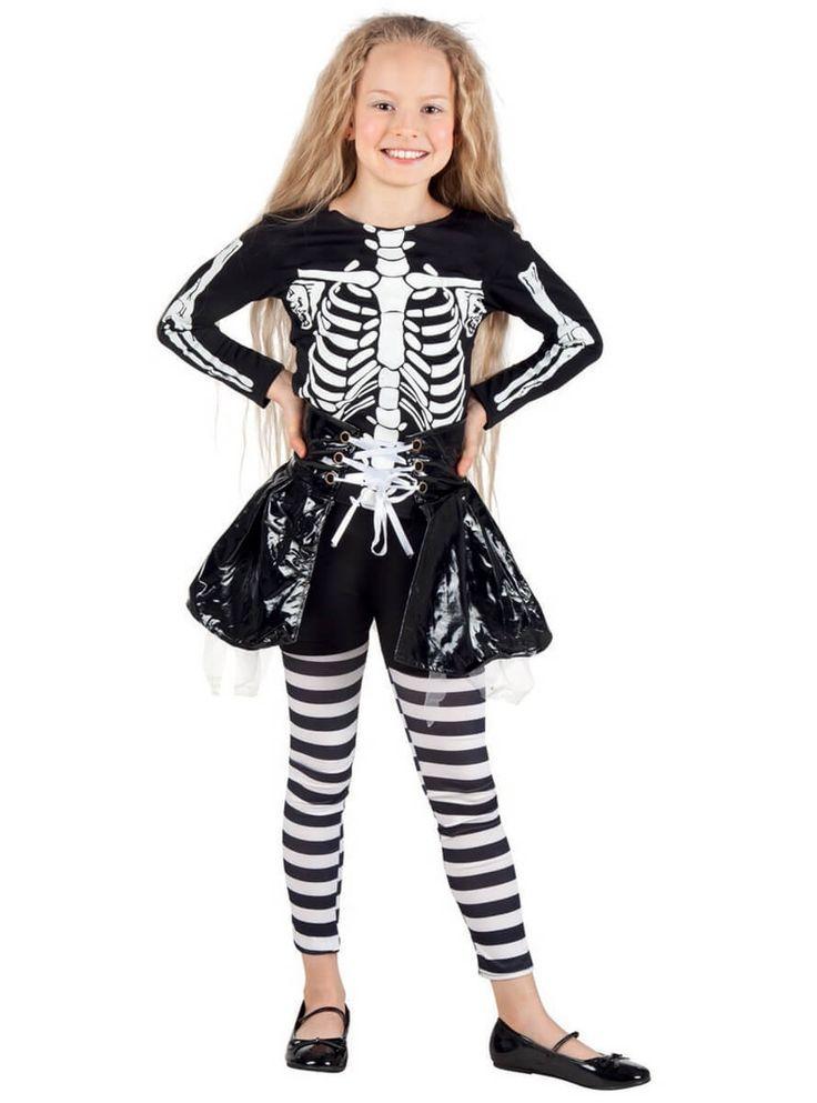 Disfraz de esqueleto con falda para niña | Comprar