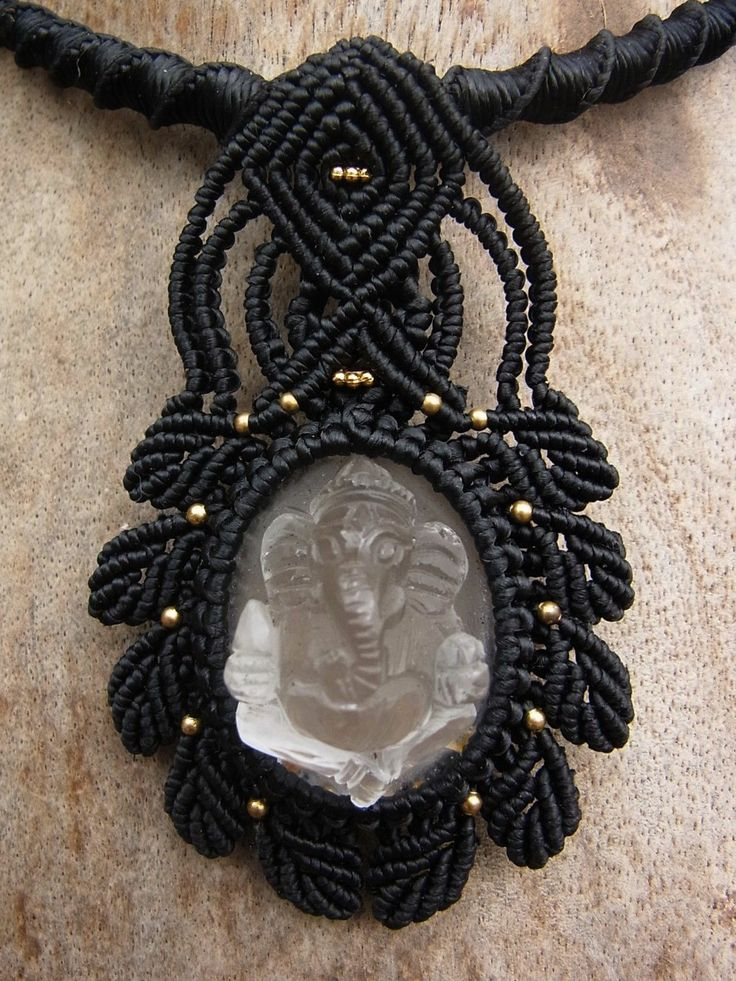 Macrame Choker Necklace Amulet Carved Quartz Ganesh Handmade Handcrafted | eBay