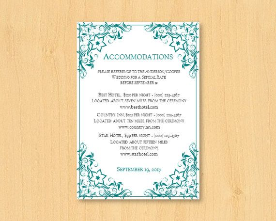 DIY wedding printable accommodation template for by DIYWedTemplate