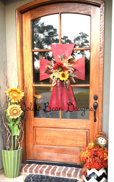 front door, wooden cross, fall, cross door hanger-- love this door