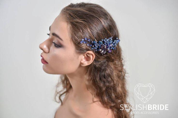 Indigo Wedding Crystal Hair Comb, Bridal Crystal Hair Comb, Wedding Bridesmaid Hair Accessories, Blue Purple Crystal Hair Comb by StylishBrideAccs on Etsy