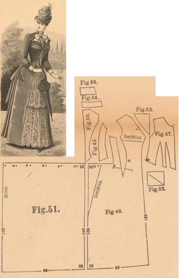Der Bazar 1889: Bast-silk and ecru toned lace adorned dress; 47. bodice's front part, 48. overdress' front part, 49. side gore, 50. back part, 51. skirt's back part, 52. pocket, 53. lapel from ecru moire, 54. and 55. cuff and collar in half sizes