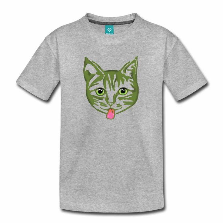 Big Green Mollycat - Kids' Premium T-Shirt @spreadshirt #spreadshirt #cat #pets #tshirt #cats #cute #eyes #clothing #funkytees #green