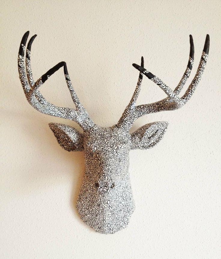 Bookworm Typography Deer Head wall mount. $215.00, via Etsy. - The 17 Best - Faux Deer Head Wall Mount Cymun Designs