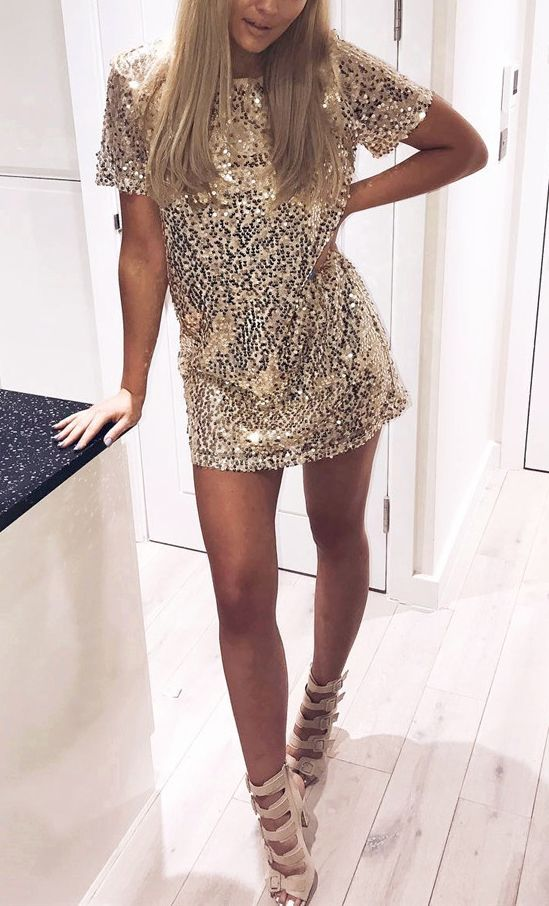 Get the party started in this stunning mini dress. The most eye-catching is its full golden sequin design. Get one for the coming festivals and parties at Fichic.com!