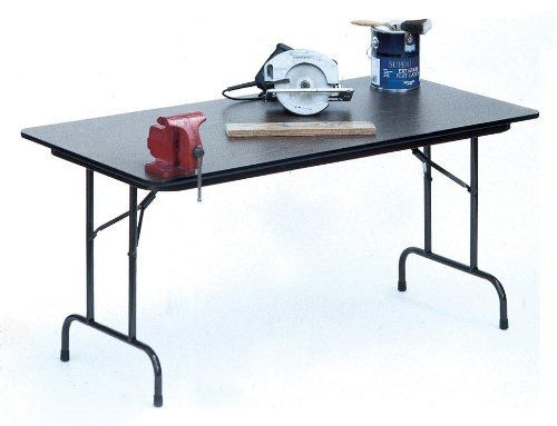 """High Pressure Folding Tables with 3/4"""" Core Size: 30 x 72, Color: Black by Correll, Inc.. $429.52. CF3072PX-07 Size: 30 x 72, Color: Black Features: -Stands at fixed height of 29''.-1 1/8'' one piece Steel Apron.-Mar-Proof plastic foot caps & edge molding.-Automatic lock-open mechanism.-Resistant to humidity and warping. Construction: -1'' 18 gauge steel pedestal legs. Dimensions: -High pressure top on 3/4'' high density particle board core with backer sheet."""
