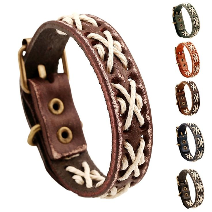 Fashion Genuine Leather Bracelet Vintage Braided Cuff Bangle Leather Wristband R…   – Jewelry and Accessories