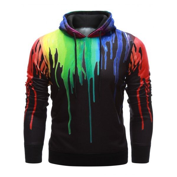 Casual Drawstring Paint Dripping Black Hoodie For Men Winter