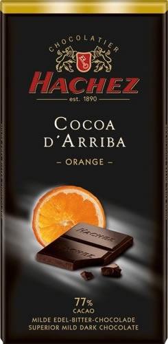 Hachez Cocoa D' Arriba Orange...   Μαύρη σοκολάτα με 77% κακάο από άριστες ποικιλίες του Εκουαδόρ. Συνδιασμό με απαλή γεύση πορτοκάλι τόση όση να μην υπερισχυεί της μαύρης σοκολάτας...