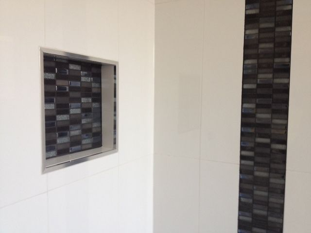 Walls: Dynasty White Gloss Rectified 600 x 300mm #500009 Feature Mosaic: SC Galaxy Pencil Steel A005-10