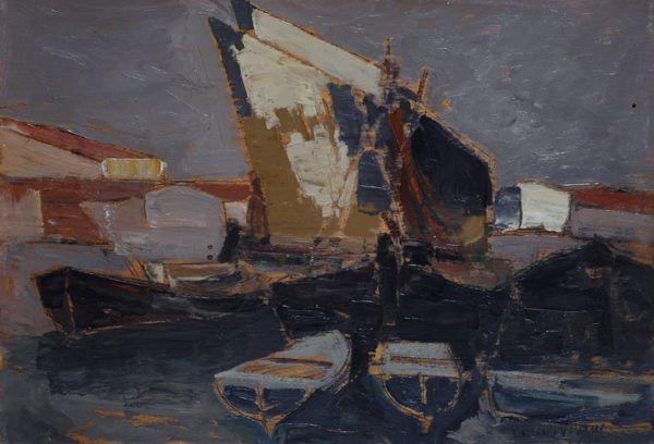 LORENZO VIANI - Darsena con vele bianche - Olio su compensato, cm. 34,5x50