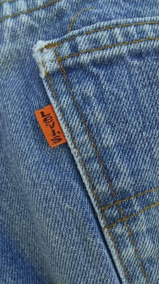 Levis Jeans for Men//Vintage 1970s//Orange by TreasuresbytheGulf