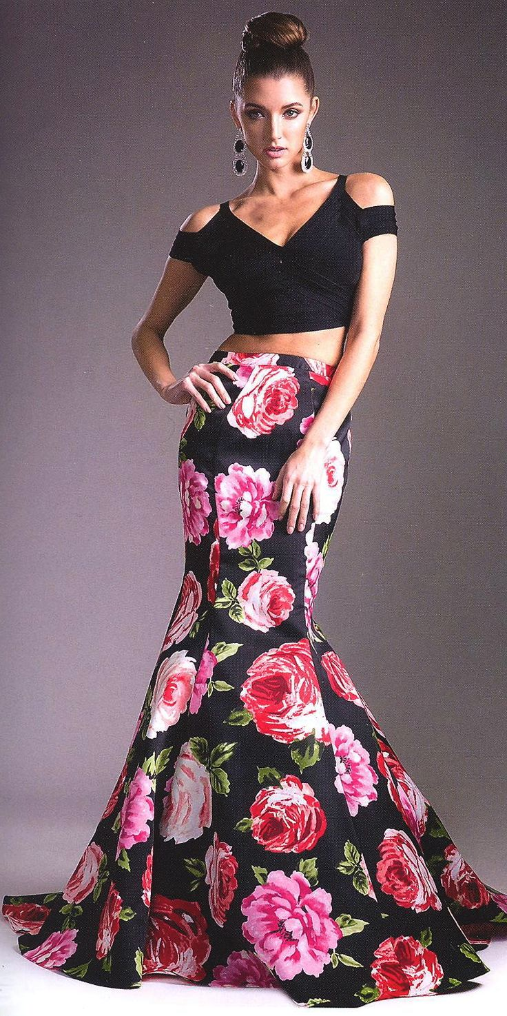 Prom Party Evening Dresses under $200 by CINDERELLA<BR>addCD701L<BR>Two piece dress with solid black off shoulder bodice to floral fitted body,  trumpet skirt to train back.