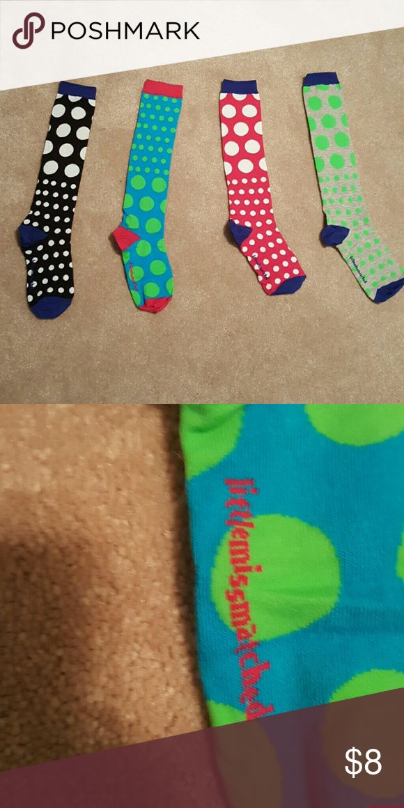 Unworn Little Miss Matched Polkadot Sock Singles These socks are sold individually to be very fun and quirky. So soft and a blast for girls and women of any age. Never worn before Little Miss Matched Accessories Hosiery & Socks