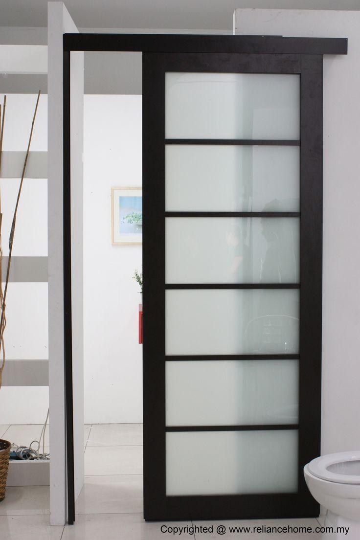 Install Bathroom Sliding Door With Black Wood Frame Door Plus Use Panel Door Glass Obscure Co Sliding Bathroom Doors Sliding Doors Interior Bedroom Door Design