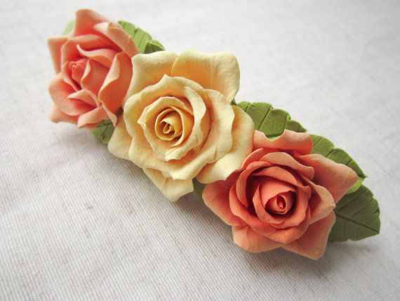 Hair barrette polymer clay flower Yellow and by FloraAkkerman, $20.00