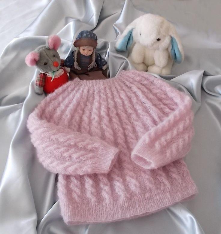 Pull Mohair et Soie Fille à Torsades Rose Pâle Poudré Sur Commande : Mode filles par lila-laine