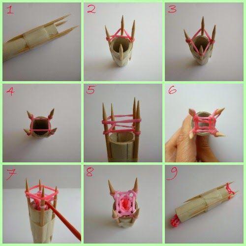 DiY pulseras gomas elasticas tricotin